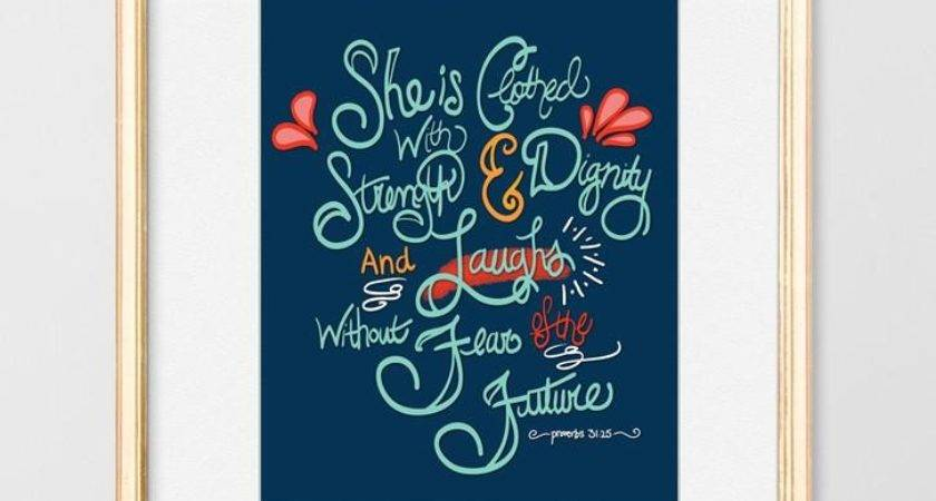 She Clothed Strength Proverbs Hand Lettered
