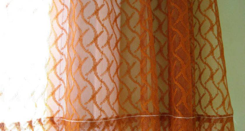 Sheer Curtain Burnt Orange Rust Color One Panel Netted