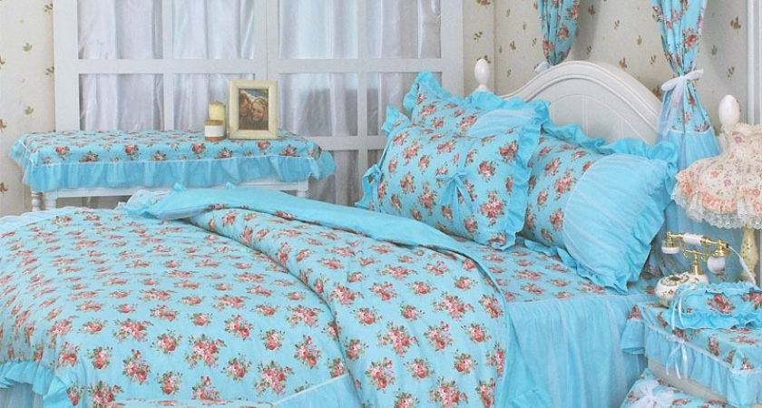 Shipping Lace Princess Floral Ruffle Bow Bedding Sets