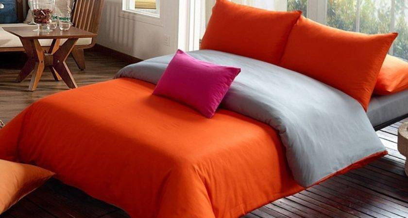 Shipping Solid Bedding Set Orange Gray Duvet