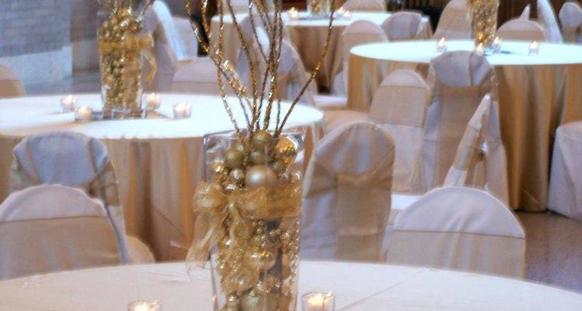 Silver Gold Centerpieces Table