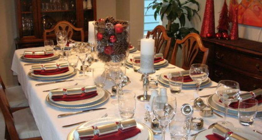 Silver White Christmas Decorations Dinner Party Table