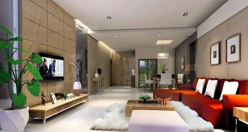 Simple Ceiling Living Room Villa Interior Design