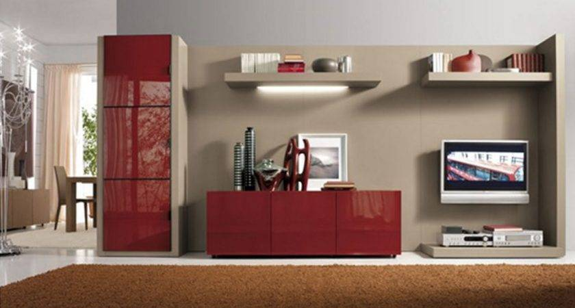 Simple Living Room Interior Design Red Cabinet Wall