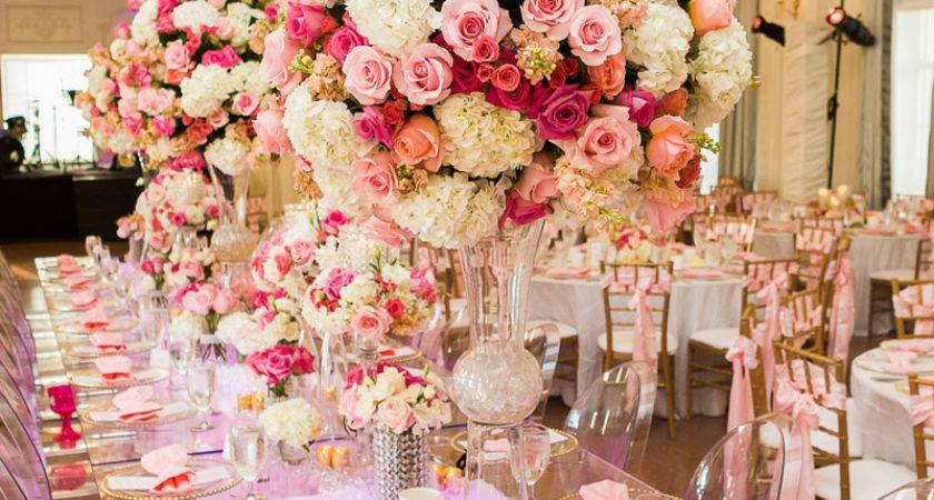 Simple Neat Pink White Wedding Table