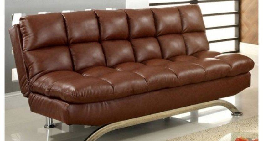 Simple Sofa Brown Leather Bed Bedroom