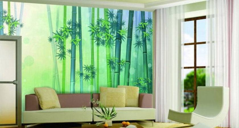 Simple Wall Painting Designs Living Room Green Colou