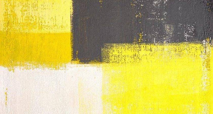 Simply Modern Grey Yellow Abstract Art Painting