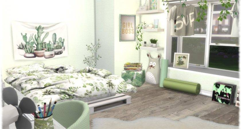 Sims Speed Build Green Themed Bedroom Links