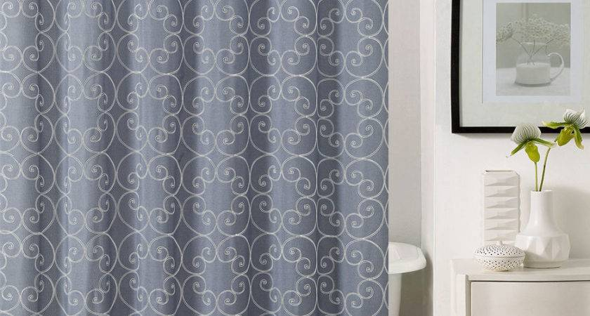 Slate Gray Fabric Shower Curtain White Embroidered