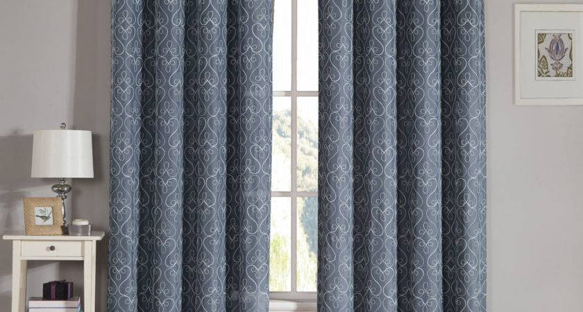 Slate Gray Grommet Window Curtain Panel Two Piece Set