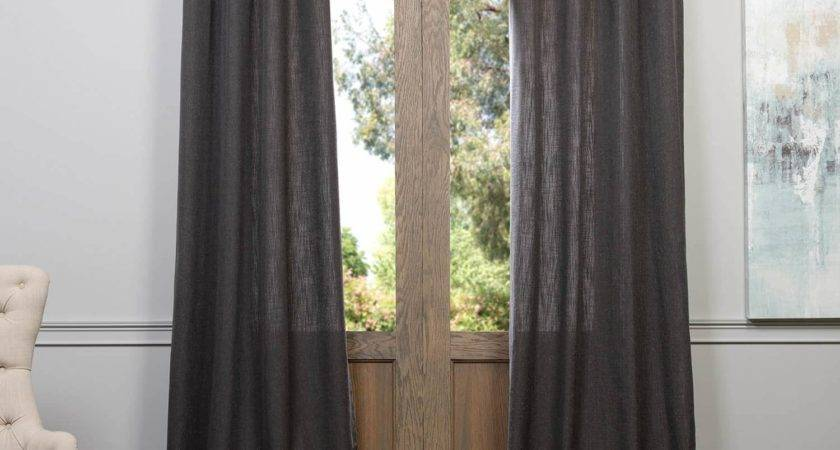Slate Grey Grommet Heavy Faux Linen Curtain Drapes