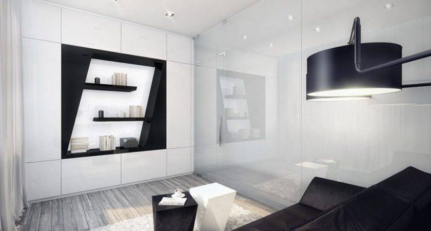 Small Black White Apartment Living Room Design