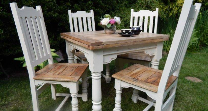 Small Rustic Oak Extending Table Painted