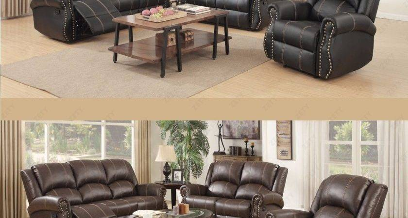 Sofa Set Loveseat Couch Recliner Leather Gold Thread