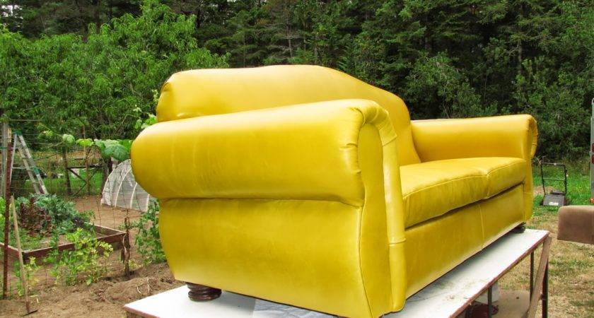 South Coast Upholstery Mustard Yellow Leather Sofa