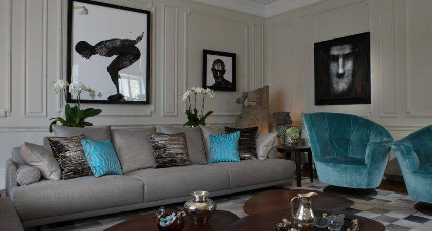 Sparkling Teal Living Room Accessories Contemporary