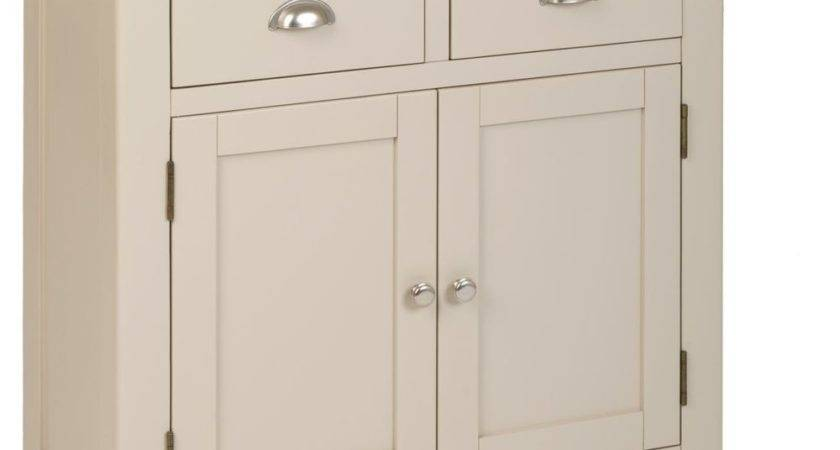 Stone Colour Painted Oak Compact Small Sideboard Cupboard