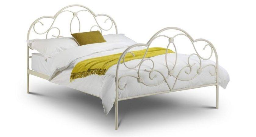 Stone White Shabby Chic Sprung Slatted Metal Bed Frame