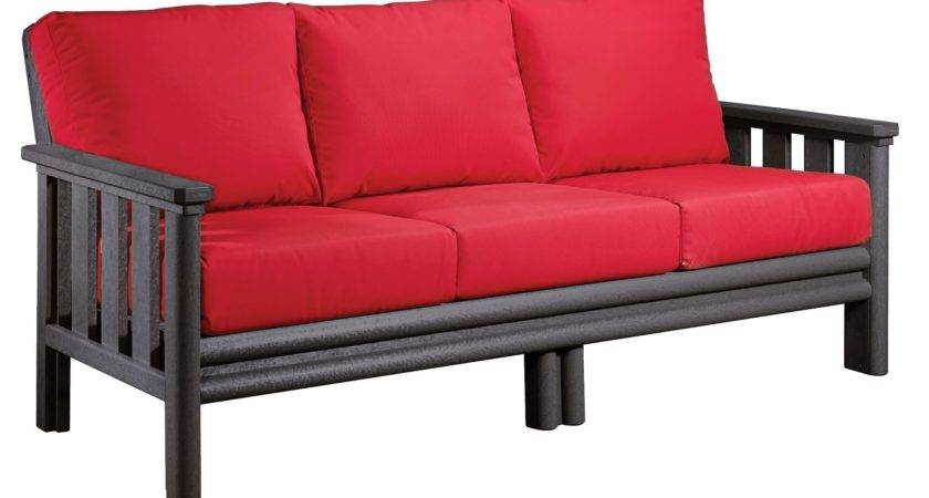 Stratford Slate Gray Sofa Jockey Red Sunbrella