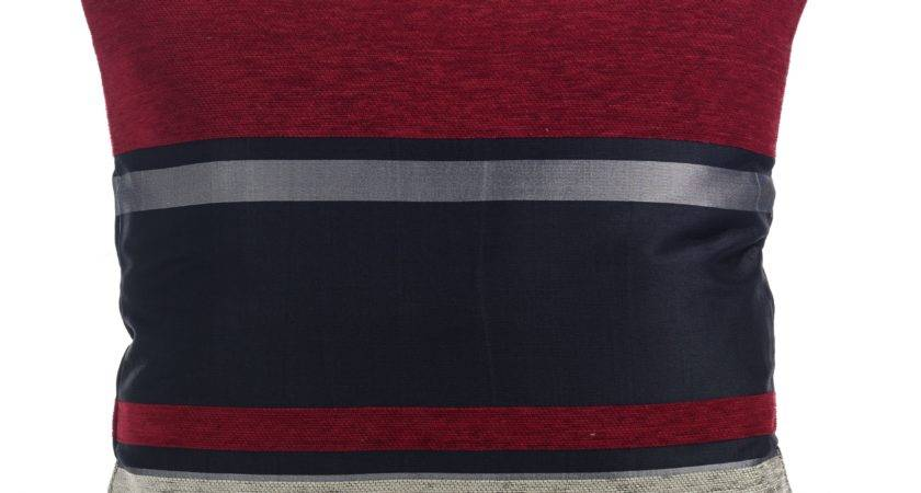 Stripe Chenille Pimlico Red Grey Silver Black