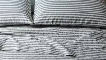 Stripe Sheets White Feather Grey