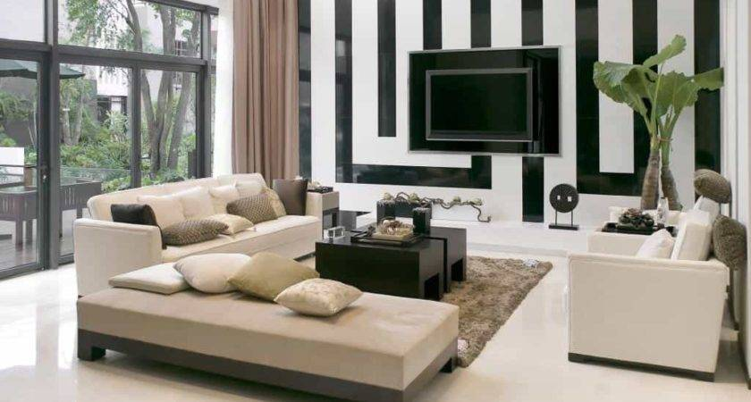 Striped Black White Painting Idea Modern Living