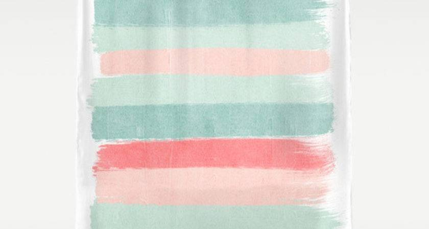 Stripes Painted Coral Minimal Mint Teal Bright Southern