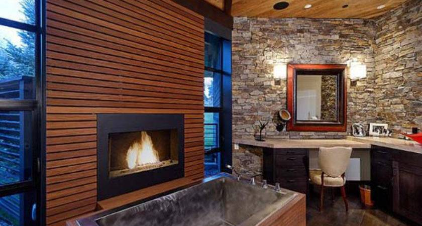 Stylish Bathrooms Fireplaces Home Design