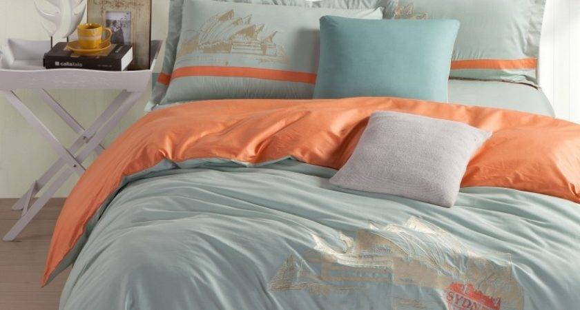 Sydney Opera House Bed Set Embroidery Bedding Orange