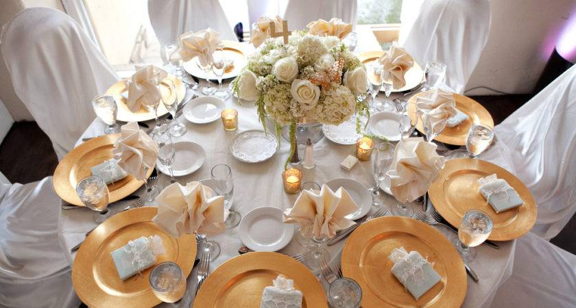 Table Setting White Gold Vinca Blooms Flickr