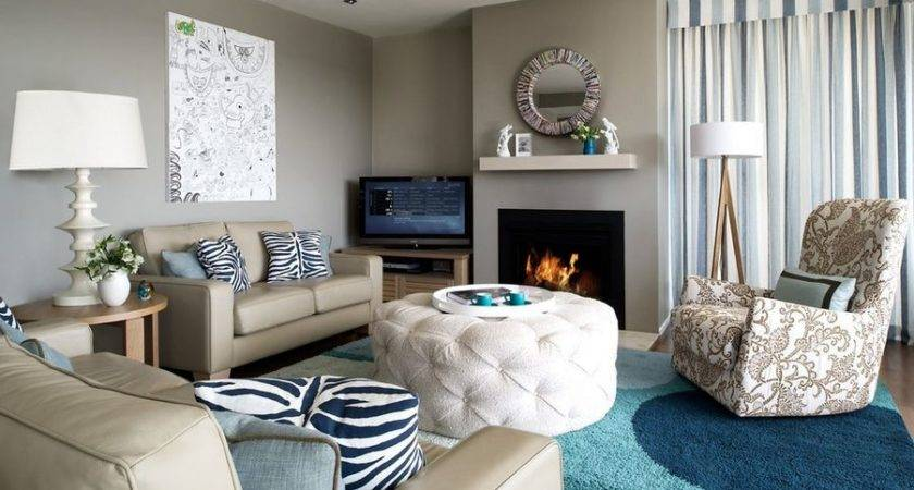Taupe Living Room Color Touches Blue Home