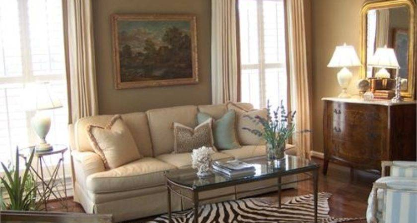 Taupe Living Room Walls Traditional