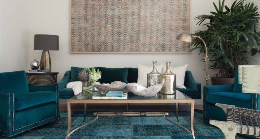Taupe Teal Painting Living Room Contemporary