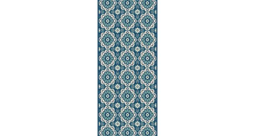 Tayse Rugs Garden City Tiffany Rectangular Navy Runner Rug