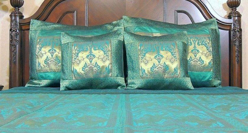 Teal Brocade Bedding Set Indian Elephant Bedspread