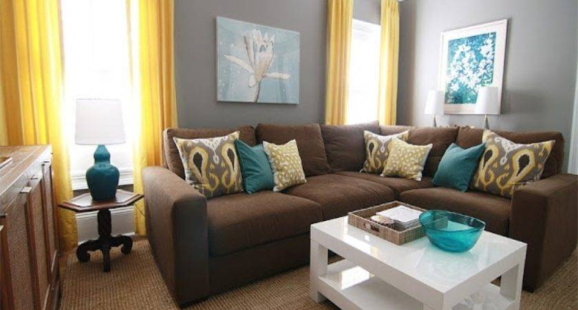 Teal Brown Yellow Living Room