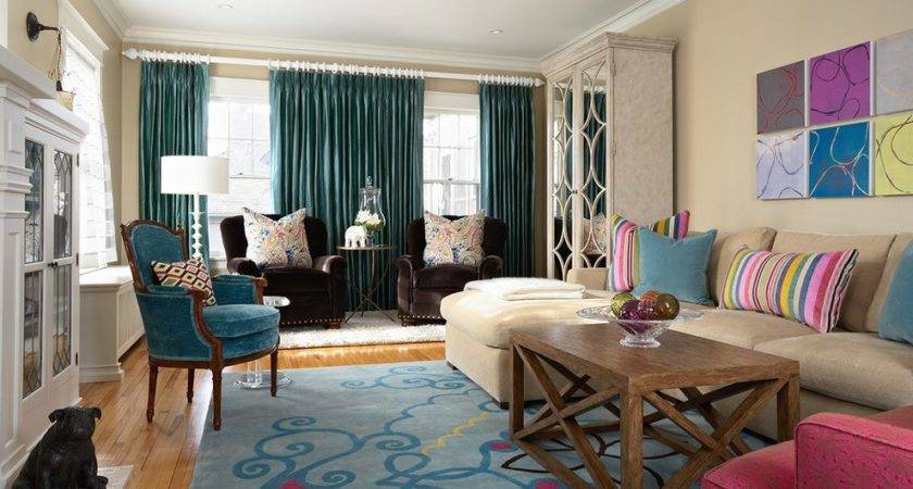 Teal Curtain Living Room Contemporary Area Rug Top