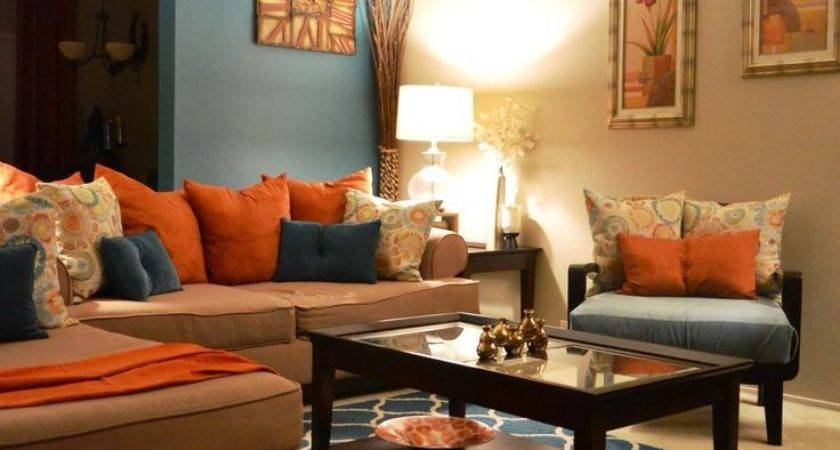 Teal Decor Brown Orange Living Room
