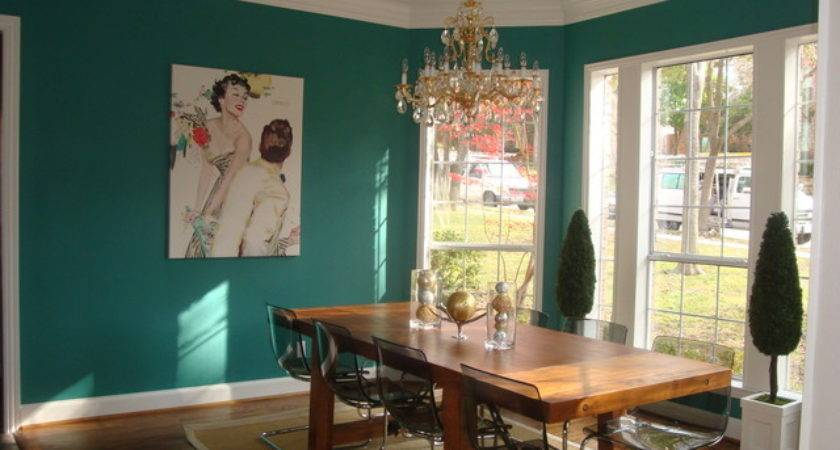 Teal Dining Room Eclectic Dallas