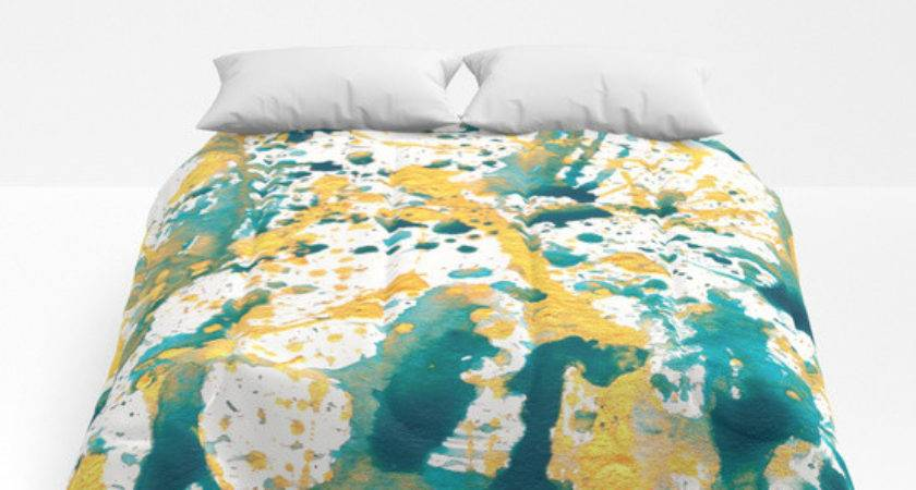 Teal Gold Splatter Paint Comforters Lisa Guen