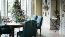 Teal Green Christmas Dining Room Decorating
