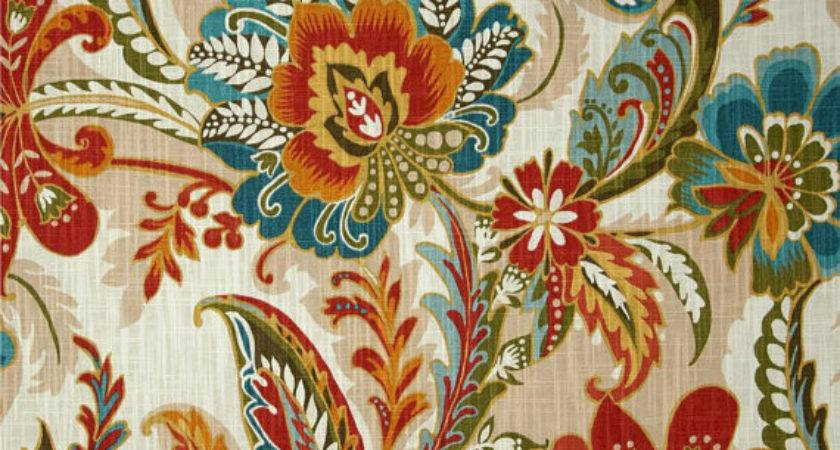 Teal Orange Curtains Bright Floral Traditional