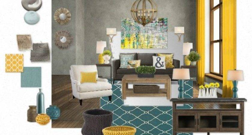 Teal Yellow Living Room Abby Christine