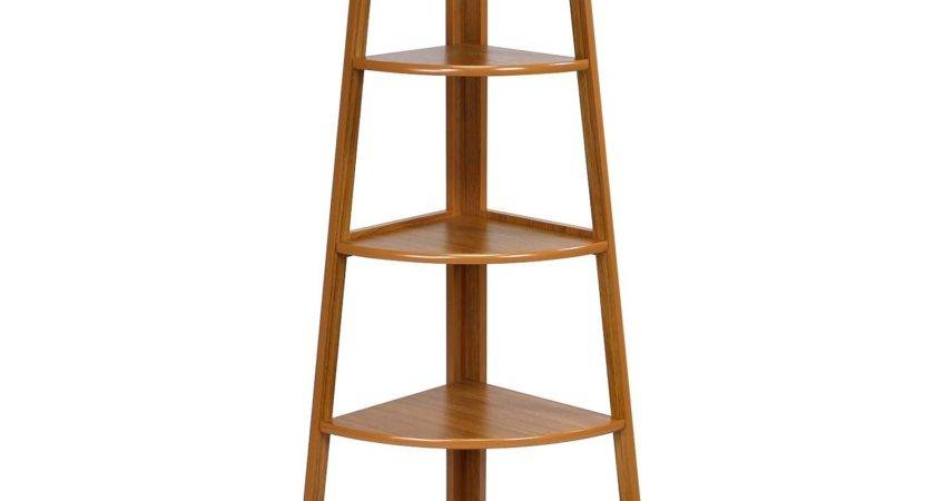 Tier Corner Ladder Shelving Unit Cherry Color Review
