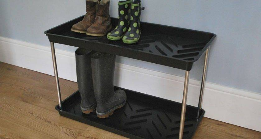 Tier Shoe Wellington Boot Rack Tray Welly