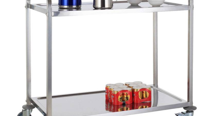 Tier Stainless Steel Kitchen Dining Trolley Serving