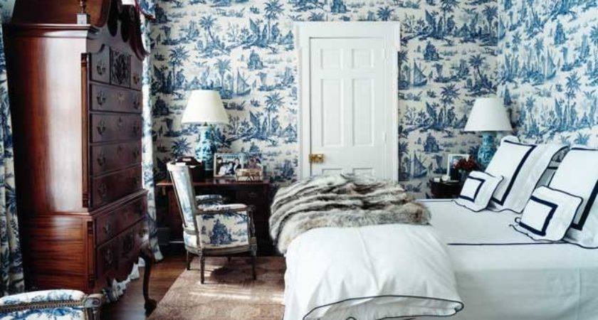 Toile Jouy Fabric Blue White Decor Francois