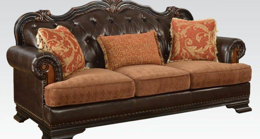 Tone Dark Brown Bonded Leather Sofa Pillows