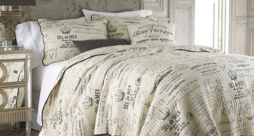 Total Fab French Script Pillows Comforters Sets Themed
